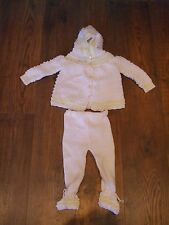 vintage baby girls knitted set lemon white cardigan+trousers 6-9 months Winter