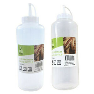 2PK PLASTIC SAUCE BOTTLE WHITE SQUEEZE BOTTLES 1000ML 1ltr CONDIMENT DISPENSER w