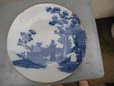 China Antique Porcelain Whiter and Blue People and Landscape Plate古青花山水人物瓷盘