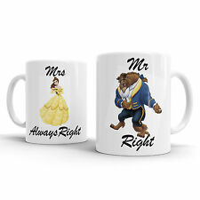 Beauty and the Beast Themed MR AND MRS COFFEE MUG TEA WEDDING ENGAGEMENT GIFT