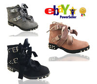 Heather Womens Flat Low Heels Studded Ankle Boots Ladies Ribbon Biker Shoes Size