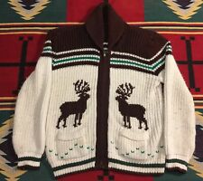 Vintage Reindeer Cowichan Shawl Collar Sweater Cardigan XL!!!