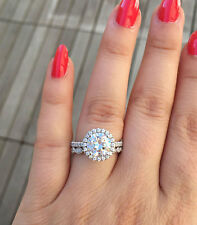 14K Solid White Gold Round Cut Moissanite Diamond Engagement Ring And Band 3.50