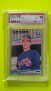John Smoltz 1989 Fleer RC PSA 8 NM/MT Atlanta Braves Rookie HOF