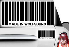1x Aufkleber Barcode MADE IN WOLFSBURG Sticker JDM Oldschool Tuning Shocker OEM