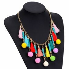 Women Pom Pom Tassels Fashion Colorful Ethnic Necklaces Necklace Collar Choker