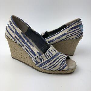 Toms Peep Toe Wedge Sandals Size 6.5 Blue Nautical Striped Heels Espadrille
