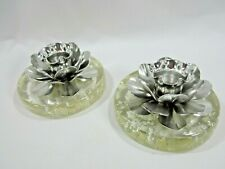 MCM Clear Lucite Silver Flakes Silver Metal Flower Candle Holders Retro Style