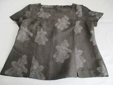 PRET GORGEOUS GREY TAUPE WIDE SQUARE NECK LINEN BLEND EMBOSSED BLOUSE TOP UK 12