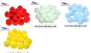 Craft Pom Poms  Balls 25mm or 40mm 25 PomPoms Per Pack British Made
