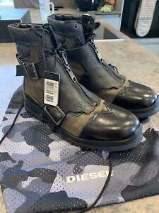 Diesel D - Klosure Boots Black And Khaki Green Mens  Size UK 9 ( EU 43 )