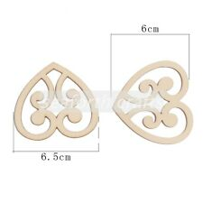 12 x Heart Mdf Type Wooden Shapes Craft Embellishments Decoration 65mm x 60mm