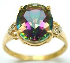 SYTRUEMECO 9KT YELLOW GOLD OVAL MYSTIC TOPAZ & DIAMOND RING SIZE 7  R707