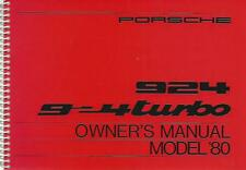 PORSCHE 924 924 Turbo Driver´s Manual 1980 handbook Owner´s Manual BA
