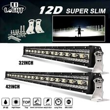Tri-row 32'' 42'' 52Inch LED Light Bar SPOT FLOOD Combo Beam Offroad 4WD ATV