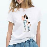 Summer Hipster Women T-shirt Mother's Day Cartoon Vogue Mom and Baby Cotton Tops
