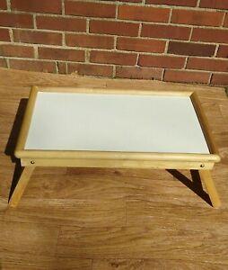 Vintage Folding Tray - Table, Breakfast Bed Tray, Study Tray - Bamboo/White