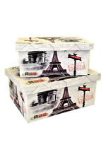 Set 2 Eiffel Tower Paris French Nesting Lined Wood Home Storage Decorative Boxes