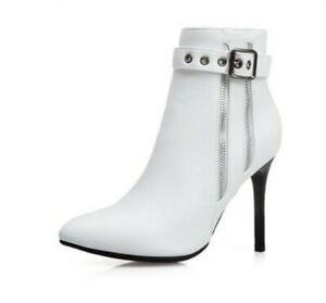 Womens Pointed Toe Stiletto Punk Zip Ankle Boots High Heels Party Shoes Size 50