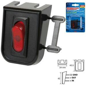 INTERRUTTORE  illuminato 12V 20A  3 contatti switch Con pannello di supporto