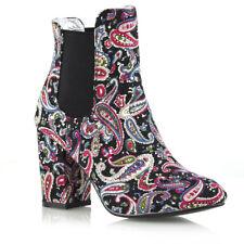 Womens Mid Heel Chelsea BOOTS Elastic Gusset Ladies Slip on Shoes Ankle BOOTIES UK 5 / EU 38 / US 7 Paisley