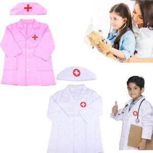 Kids Doctors Nurse Coat Uniform Childrens Girls Boys Fancy Dress Costume Outfit