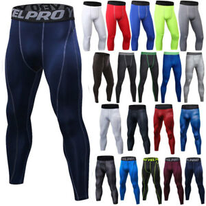 Mens Compression Base Layer Leggings Pants Gym Sports Workout Fitness Bottoms