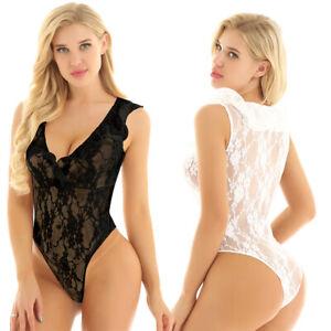 Women Lingerie Bodysuit Leotard High Cut See Through Floral Lace Thong Nightwear