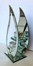 Hestia Glass Mirror Double Tea Light Candle Holder Flame Shape Candle Included
