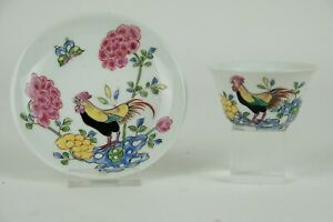 Perfect antique 19th century famille rose chicken cup and saucer.