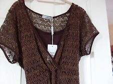 OXENDALES, JOANNA HOPE,  BROWN + GOLD FLECKED WRAP TUNIC & CAMISOLE,  SZ18