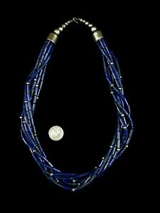 Pueblo Necklace - Sterling Silver and Lapis - 190g = 6.7oz - 7 Strand