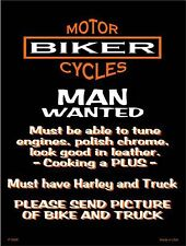 """Motorcycle Man Wanted Humor 9"""" x 12"""" Metal Novelty Parking Sign"""