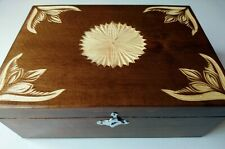 New handmade brown jewelry wooden carved storage box case gift coffe tea box
