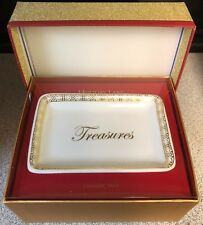 Macy's Holiday Lane Ceramic Jewelry Tray - Treasures White & Gold - New In Box