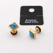 Surgical Stainless Steel Earrings Square 18K Gold Plated For mens For womens