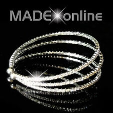 3 Line Silver Plated Sprung Diamante Bling Bracelet, Small Stone