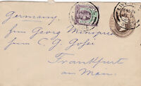 1900 QV LIVERPOOL 1d COVER UPRATED WITH A JUBILEE STAMP SENT TO GERMANY