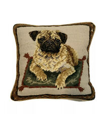 Wool Vintage Needlepoint Accent Pillow Pug Dog Laying On Pillow 10X10