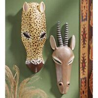 African Tribal Wildlife Animal Set of 2 Gemsbok & Jaguar Wall Mask Sculpture 1lb