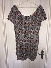 Women's NEW LOOK Body Con Cap Sleeve Patterned Short Dress Size 18