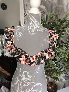 Ladies Brand New Pretty Bikini Top Size 8 Black Floral FREE DELIVERY