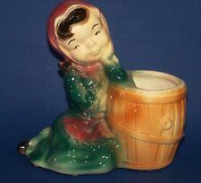 Royal Copley Planter Girl Leaning on Barrel Figurine 6.75 inches tall  Pink Teal