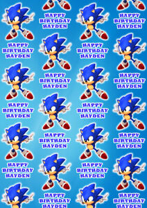 SONIC Personalised Gift Wrap - Sonic Wrapping Paper - Sonic Personalised