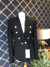 ZARA Black Tweed Bouclé Blazer Jacket Gold Buttons MEDIUM BNWT