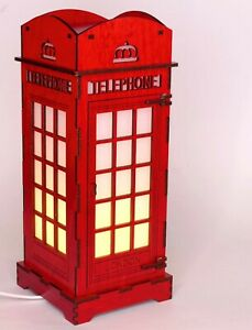 London Phone Booth Night light ~ Laser Engraved & Cut ~ Opening Door!!