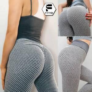 UK Womens Yoga Gym Anti-Cellulite Compression Leggings Push Up Pants Gym Clothes