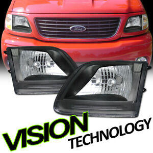 For 97-03 F150/F250/Expedition Euro Black Clear Lens Headlights Headlamp Lamp K2
