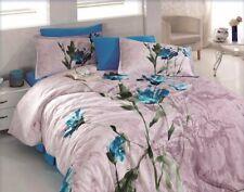 Bettwäsche 220x240 cm Bettgarnitur Bettbezug Baumwolle Kissen 6 tlg AZRA BLAU