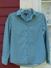 "Lands' End NWOT No-Iron Supima Aqua Print Long Sleeved Shirt Size 4 (38"") Small"